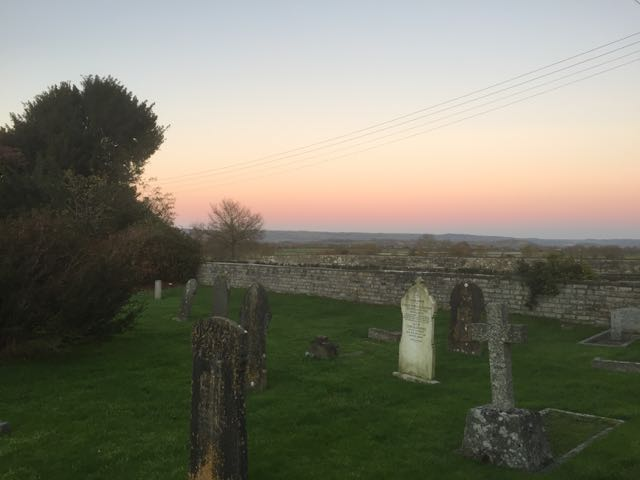 View of mendip in sunset